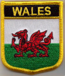 Wales Embroidered Flag Patch, style 07.